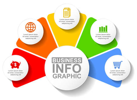 Business infographic vector template for presentation with 5 options