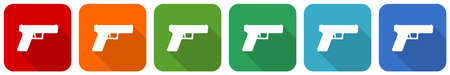 Pistol, gun, weapon icon set, flat design vector illustration in 6 colors options for webdesign and mobile applications