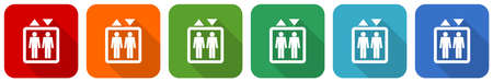 Elevator, lift icon set, flat design vector illustration in 6 colors options for webdesign and mobile applications