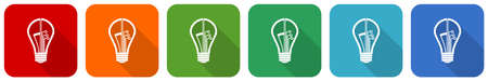 Creative, idea, bulb, circuit icon set, flat design vector illustration in 6 colors options for webdesign and mobile applications Ilustracja