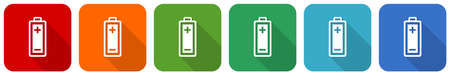 Battery icon set, flat design vector illustration in 6 colors options for webdesign and mobile applications