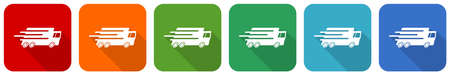 Speed transport, fast delivery, truck icon set, flat design vector illustration in 6 colors options for webdesign and mobile applications