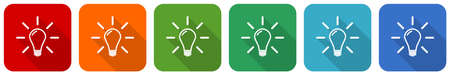 Idea, solution, bulb, innovation icon set, flat design vector illustration in 6 colors options for webdesign and mobile applications