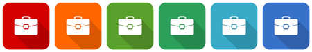 Briefcase, bag, case, business icon set, flat design vector illustration in 6 colors options for webdesign and mobile applications 矢量图像
