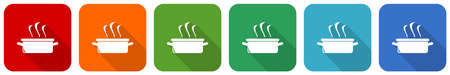 Kitchen pot, cooking concept icon set, flat design vector illustration in 6 colors options for webdesign and mobile applications Ilustração