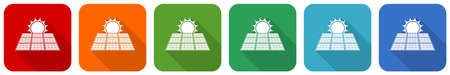 Sun over solar panel icon set, flat design vector illustration in 6 colors options for webdesign and mobile applications