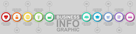 Business infographic vector template with 10 opiions