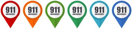 Number emergency 911 vector pointers, set of colorful flat design icons isolated on white background Vektoros illusztráció