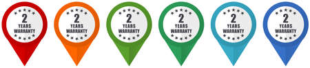 Warranty guarantee 2 year vector pointers, set of colorful flat design icons isolated on white background Vektorové ilustrace