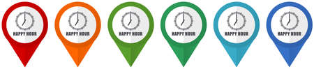 Happy hour vector pointers, set of colorful flat design icons isolated on white background Stock Illustratie