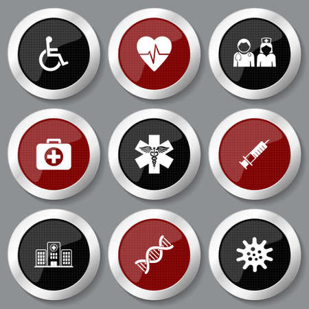 Medical, medicine vector icons, set of silver metallic healthcare concept glossy web buttons