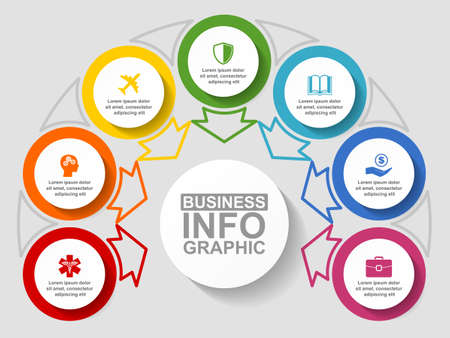 Flat design business diagram vector template with 7 options