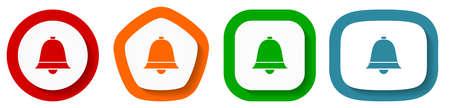 Set of flat design vector alarm icons, alert symbol illustration  イラスト・ベクター素材