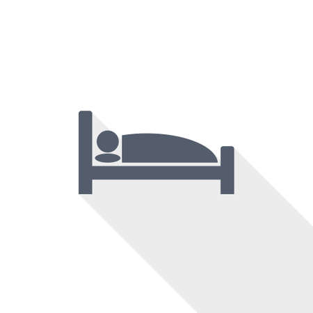 Hotel vector icon, flat design illustration Çizim