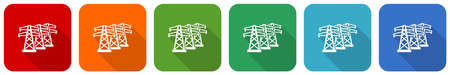 Power line, energy towers vector icon set, flat design vector illustration in 6 colors options for webdesign and mobile applications