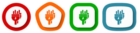 Eletricity, energy, power, plug vector icon set, flat design buttons on white background