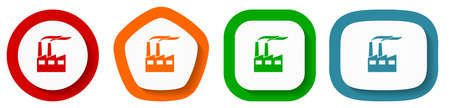 Factory, industrial building, plant, pollution vector icon set, flat design buttons on white background