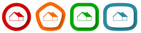House and real estate concept vector icon set, flat design buttons on white background