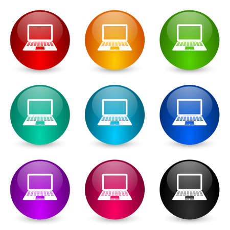 Computer vector icons, set of colorful glossy 3d rendering ball buttons in 9 color options