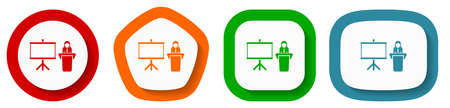 Seminar and training vector icons, set of pentagon, square, oval and circle shape buttons