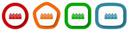 Group of people on seminar, audience vector icons, set of pentagon, square, oval and circle shape buttons Vektorgrafik