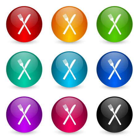 Restaurant vector icons, set of colorful glossy 3d rendering ball buttons in 9 color options