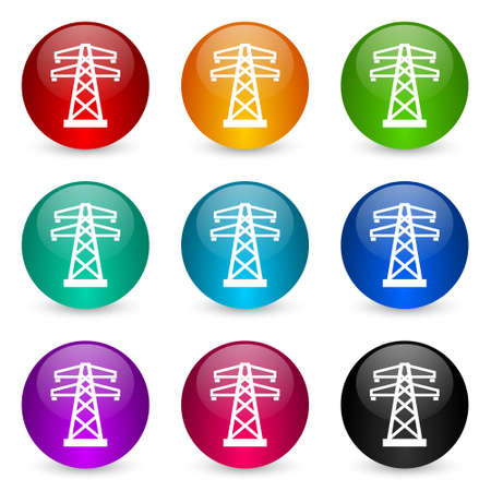 Power, energy tower vector icons, set of colorful glossy 3d rendering ball buttons in 9 color options