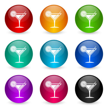 Tropical drink, alcohol, bar, martini in glass vector icons, set of colorful glossy 3d rendering ball buttons in 9 color options Ilustracja