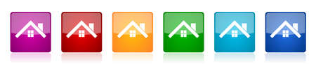 House, roof and window icon set, square glossy vector buttons in 6 colors options for webdesign and mobile applications