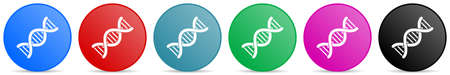 Dna, genetic molecule vector icons, set of circle gradient buttons in 6 colors options for webdesign and mobile applications Иллюстрация