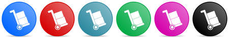 Delivery service, shipping barrow vector icons, set of circle gradient buttons in 6 colors options for webdesign and mobile applications