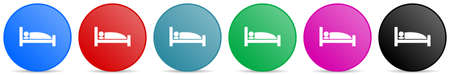 Hotel vector icons, set of circle gradient buttons in 6 colors options for webdesign and mobile applications