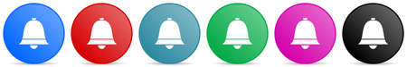 Bell, ring, alarm vector icons, set of circle gradient buttons in 6 colors options for webdesign and mobile applications