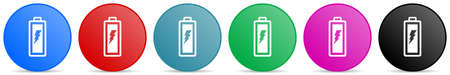 Battery vector icons, set of circle gradient buttons in 6 colors options for webdesign and mobile applications