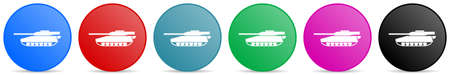 Tank, army, military, war vehicle vector icons, set of circle gradient buttons in 6 colors options for webdesign and mobile applications