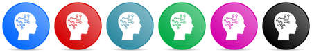 Human head, brain, human, circuit vector icons, set of circle gradient buttons in 6 colors options for webdesign and mobile applications