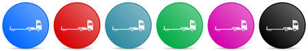Truck with tow trailer, long vehicle conept vector icons, set of circle gradient buttons in 6 colors options for webdesign and mobile applications