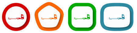 Truck with tow trailer, long vehicle conept vector icon set, flat design buttons on white background