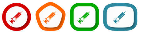 Syringe, injection vector icon set, flat design buttons on white background