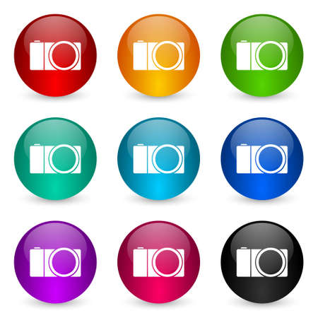 Mirrorless camera, photography icon set, colorful glossy 3d rendering ball buttons in 9 color options for webdesign and mobile applications Imagens