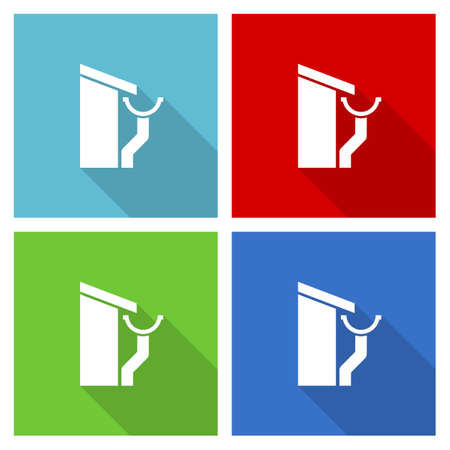 Roof and gutter, guttering home icon set, flat design vector illustration for webdesign and mobile applications in four color options
