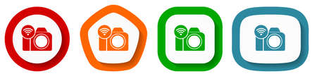 Photo camera, communication, wifi vector icon set, flat design buttons on white background