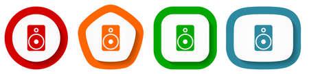 Music speaker, loudspeaker vector icon set, flat design buttons on white background