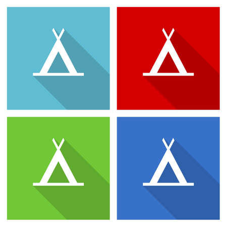 Camp icon set, flat design vector illustration for web design and mobile applications in four color options