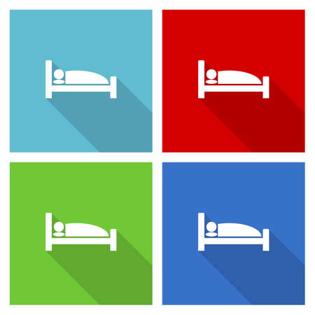 Hotel icon set, flat design vector illustration in for webdesign and mobile applications in four color options