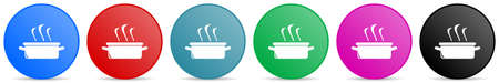 Kitchen pot, cooking concept vector icons, set of circle gradient buttons in 6 colors options for webdesign and mobile applications
