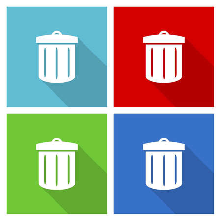 Recycle icon set, flat design vector illustration in eps 10 for webdesign and mobile applications in four color options