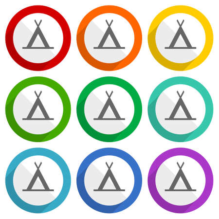 Camp vector icons, set of colorful flat design buttons for webdesign and mobile applications