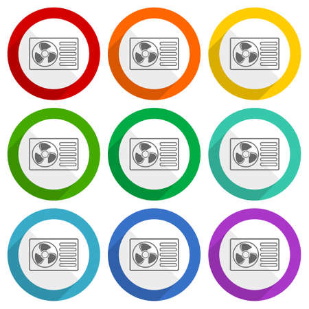 Heat pump vector icons, set of colorful flat design buttons for webdesign and mobile applications