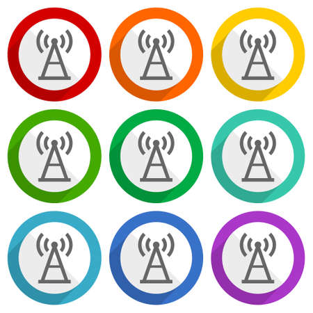 Antenna, signal vector icons, set of colorful flat design buttons for webdesign and mobile applications